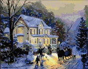 PaintingStudio Blue dream House winter snow DIY Painting by number kits picture canvas 41cm x 50cm