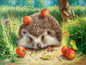 Paint By Number Kits No Blending / No Mixing Linen Canvas DIY Painting - Hedgehog