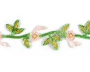 Delicate Beaded Flower & Leaf Trim By Shine Trim - Light Pnk/grn/gold