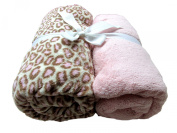Cosy Fleece Microplush Fitted Crib Sheet, Pink/Pink Leopard