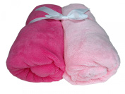 Cosy Fleece Microplush Fitted Crib Sheet, Pale Pink/Dark Pink