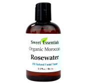 Premium 100% Pure Organic Moroccan Rose Water - 120ml - Imported From Morocco - (Also Edible) Rich in Vitamin A and C, it is Packed With Natural Antioxidants and Anti-Inflammatory Qualities. Perfect for Reviving, Hydrating and Rejuvenating Your Face an ..