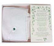 White Linen Irish Keepsake Bonnet with Embroidered Shamrock in Gift Box