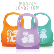 3 Pack Soft Silicone Roll up Baby/Toddler Bibs Creatively Designed By Monkey Loves Tom - Food Catcher Pocket, Waterproof and Easy to Clean. Breakfast, Lunch and Dinner Made Easy!