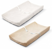 Summer Ultra Plush Change Pad Cover, White/Ecru, 2 Count