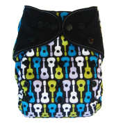 Charcoal Bamboo All In One Cloth Nappy with Pocket, Guitar
