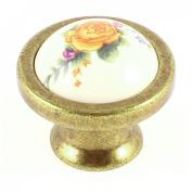 Bedroom Yellow Flower Pattern Ball Shape Ceramic Furniture Door Drawer Knob