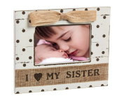 Shabby Chic Baby Loves Sister 4X6 Wooden Picture Frame