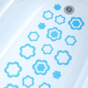 NEW Blue Flower Bathtub Bath Tub Treads Non Slip Applique Sticker Bathroom Mat