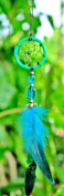 Dream Catcher rear view mirror ornament Green Blue feather handmade bohemian boho vintage dreamcatcher
