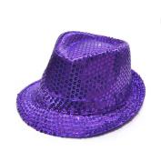 Fashion Sequin Paillette Piece Design Child Kid Fedora Panama Hat Cap Purple