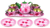 Flower Springtime Children's Kid's Full Metal Durable Pretend Play Toy Tea Set w/ Cups, Tea Pot, Plates, Tray