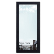 Adeco Decorative Black Wood 3.2cm Wide Wall Hanging Poster Picture Photo Frame, One Opening of 20cm x 50cm