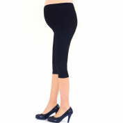 Liang Rou Belly Support Thin Stretch Maternity Cropped Leggings Colour Black