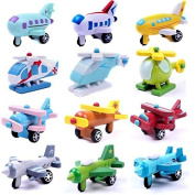 BuyHere Set of 12 Wooden Aeroplane Model Educational Toys