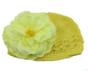 KingWinX Baby Girl Knitted Flower Cap, Yellow