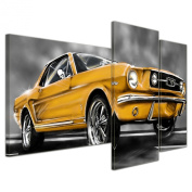 """Bilderdepot24 Wall Art - Canvas Picture """"Mustang Graphic - yellow"""" - 130cm x 80cm 3 pieces - Gallery wrapped, directly from the manufacturer"""