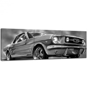 "Bilderdepot24 Wall Art - Canvas Picture Panorama ""Mustang Graphic - black and white"" 90cm x 30cm 3 pieces - Gallery wrapped, directly from the manufacturer"