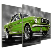 """Bilderdepot24 Wall Art - Canvas Picture """"Mustang Graphic - green"""" - 100cm x 60cm 3 pieces - Gallery wrapped, directly from the manufacturer"""