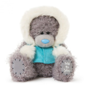 Me To You 15cm Tatty Teddy Grey Teddy Bear Wearing A Winter Hooded Gillet Sits Tall
