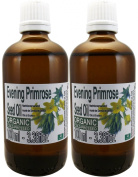 Set of Two Glass Bottes Of Evening Primrose Seed Oil Organic 100% pure and natural. 100 ml each bottle. Cold pressing. Extra virgin. Origin Italy. from Spain.