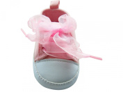 MABINI® Baby Girls Pink & White Canvas Style Ribbon Lace Up Shoes / Booties With Pretty Embroidery On Side