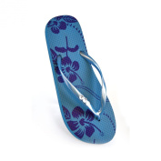 FLOSO® Ladies/Womens Hibiscus Printed Flip Flops With Jewel Trim