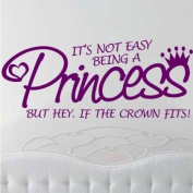 Sticker Bay It's Not Easy Being A Princess Wall Sticker Quote Nursery Decal Graphic - Black