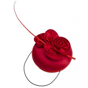 Janeo Parisian & Kate Style Mini Domed Pill Box Fascinator Hat in Satin Swirls and Roses. Quaint Round Dome with Fabric Roses and A Single Quill. Weddings or Special Occasions Pearl Satin Fabric Pill Box in Five Versatile Colours
