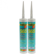 Everbuild Pack Of 2 300Ml 565 Clean Room Silicone Mould Resistant Adhesive Glue