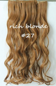 60cm Full Head Clip in Synthetic Curly Wavy Hair Extensions 8 Pcs 140g Dark Blonde