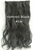 60cm Full Head Clip in Synthetic Curly Wavy Hair Extensions 8 Pcs 140g Black