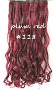 60cm Full Head Clip in Synthetic Curly Wavy Hair Extensions 8 Pcs 140g Plum Red