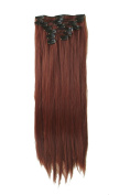 60cm Full Head Clip in Synthetic Hair Extensions 8 Pcs 140g Mohogany Red
