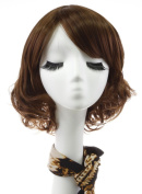 Rabbitgoo High Quality Beautiful Short Coffee Brown Curly Sexy Wave Lace Front Bob Wigs for Women with Wig Cap