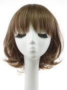 Rabbitgoo High Quality Beautiful Short Grey Brown Curly Wave Lace Front Bob Wigs for Women with Wig Cap