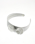 Zac's Alter Ego® White Satin Bow on Satin Alice Band