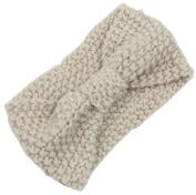 KingWinX Girl's Crochet Bow Knitted Headband, Beige