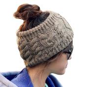 LOCOMO Women Girl Knit Cable Headband Hairband Head Wrap Crochet Hat Winter Warm FFH017 Brown Grey