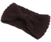 KingWinX Girl's Crochet Bow Knitted Headband, Coffee