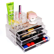 Elifestore 3 Storage Clear Acrylic Transparent Make up Box Organiser Cosmetic Display Case