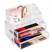 Elifestore Clear Acrylic Makeup Drawer Cosmetic Jawellery Organiser Storage Holder Box