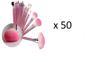 BULK ORDER PACK OF 50 Professional 23 PCS Superior Soft Fibre & Nylon Cosmetic Make Up Brush Tool Set Kit - Pink Wooden handles and Soft PU Shimmer Pouch Bag Tie Case - A Full Range of Brushes For Every Make up Application From Foundation, Eye shadow, ..