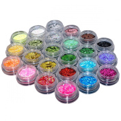VOSO - 24 Sparkle Glitter Dust Powder Hexagon Nail Art Decoration 1mm