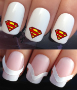 WATER NAIL TRANSFERS DECALS STICKERS ART SET #681 & 172. **plus x48 nail tip guides!!** x20 SUPERMAN CHEST LOGO FANCY DRESS COSTUME NAIL TATTOO WRAPS & x48 FRENCH MANICURE TIP GUIDES! CAN BE USED WITH NATURAL GEL ACRYLIC STICK ON NAILS! OR WITH GLITTER ..
