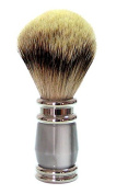 GOLDDACHS / Shaving Brush Badger - Hair/ Silver Zupf - Noble White Art / Resin Grey