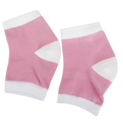 Footful Gel Heel Moisturising Socks Protectors for Dry Cracked Heel Skin Foot Pain Relief Pink