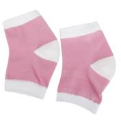 Footful Gel Heel Moisturising Socks Protectors for Dry Cracked Heel Skin Foot Pain Relief Pink