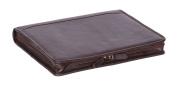 Luxury Real Leather Zip Around Folder File Detachable Metal Ring Binder Braga