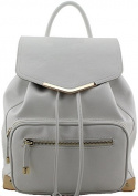 Fashion White Backpack with Gold Details